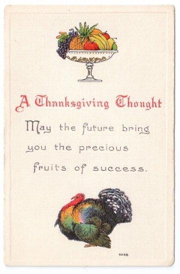 Turkey Embossed Arts and Crafts Style Vintage Thanksgiving Postcard Bergman 1912