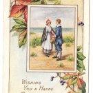 Whitney Made Pilgrims Vintage Thanksgiving Postcard 1917