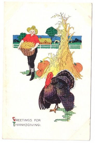 Farmer Turkey Haystack Vintage Thanksgiving Postcard 1918