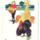 Farmer Turkey Haystack Vintage Thanksgiving Postcard 1918