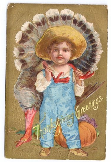 Farm Boy w Turkey Embossed Vintage Thanksgiving Postcard Gold