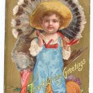 Farm Boy w Turkey Embossed Vintage Thanksgiving Postcard Gold