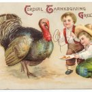 Unsigned Clapsaddle Boys Catching Turkey Embossed Vintage Thanksgiving Postcard