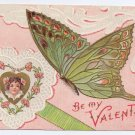 Butterfly Pretty Girl Heart Embossed Gilded Vintage Valentine Day Postcard