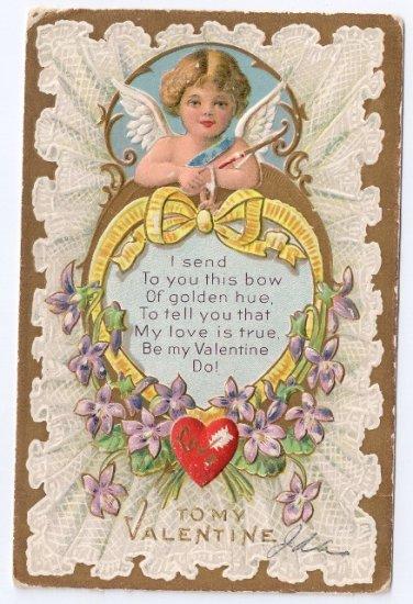 Cupid Cherub Violets Embossed Gilded Vintage Valentine Day Postcard