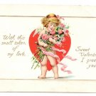 Cupid Cherub Roses heart Embossed Gilt Vintage Valentine Day Postcard