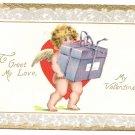Cupid Cherub Gift Box Vintage Valentine Day Postcard Tuck
