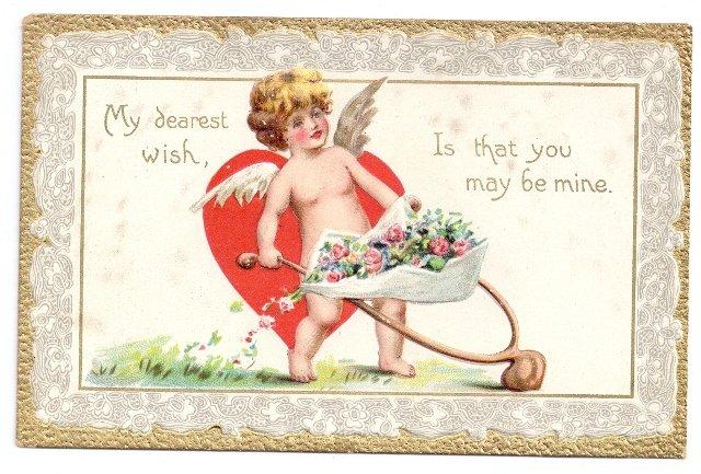 Tuck Valentine Postcard Cupid Cherub Wheelbarrow