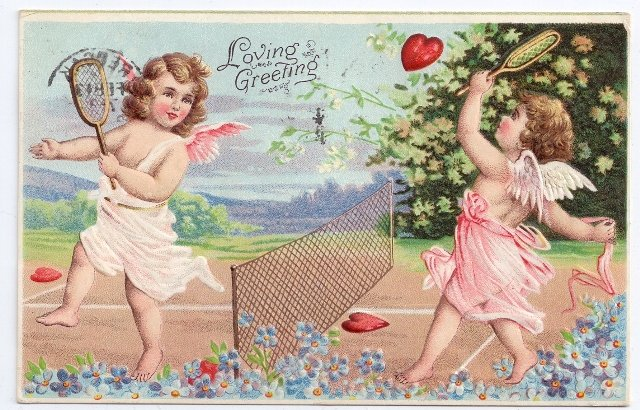 Cupid Cherub Playing Tennis With Heart Valentine Day Postcard