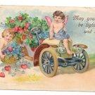 Cupid Cherub Automobile Embossed Vintage Valentine Postcard