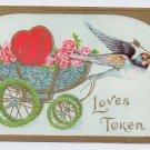 Flower Carriage Embossed Gold Gottschalk Vintage Valentine Postcard