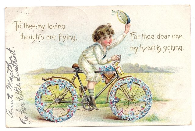 Boy Bicycle Embossed Tuck Vintage Valentine Postcard