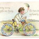Boy Bicycle Embossed Tuck Vintage Valentine Postcard