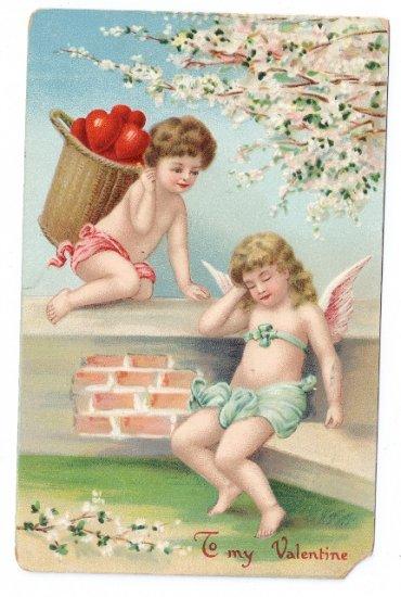 Cupid Cherub Basket of Hearts Embossed Vintage Valentine Postcard