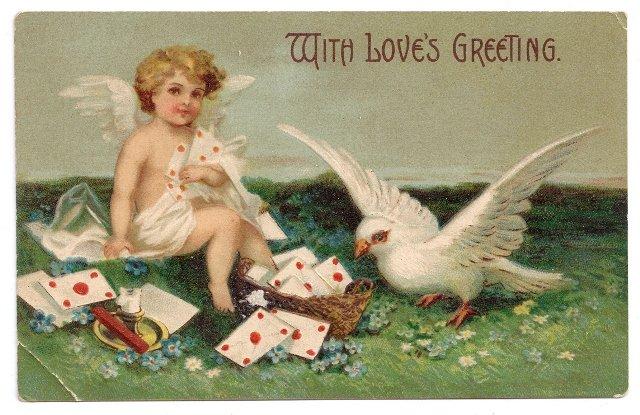 Cupid Cherub Dove Embossed Vintage Valentine Postcard