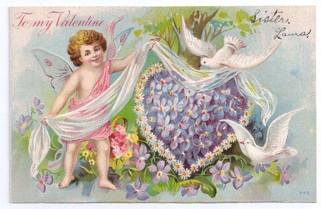 Cupid Cherub Violet Heart Embossed Vintage Valentine Postcard