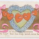 Hearts Strung on Ribbon Embossed Gold Vintage Valentine Postcard