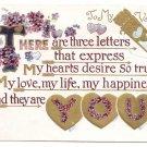Forget Me Nots Embossed Gold Vintage Valentine Postcard