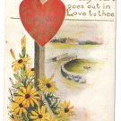 Heart Signpost Cute message Vintage Valentine Postcard