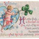Cupid Four Leaf Clover Embossed Vintage Valentine Postcard