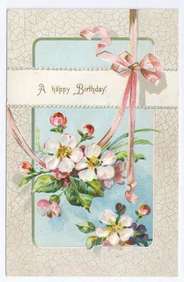 Apple Blossoms Embossed Vintage Birthday Postcard