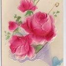 Roses Airbrushed Embossed Vintage Birthday Postcard