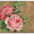 Roses Gold Moire Embossed Vintage Birthday Postcard
