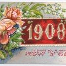 1908 Roses Embossed Vintage New Year Postcard