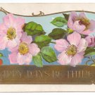Christmas Roses Embossed Gilt Vintage Postcard