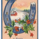 Horseshoe Holly Embossed Vintage Christmas Postcard