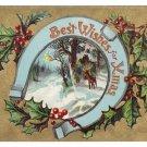 Horseshoe Deer Gold Moire Embossed Vintage Christmas Postcard