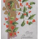 Horseshoe Hearts Holly Silver UND Vintage Christmas Postcard