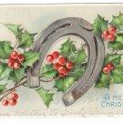 Horseshoe Holly Glitter Embossed Vintage Christmas Postcard