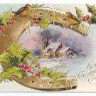 Horseshoe Cottage Embossed Gilt Vintage Christmas Postcard