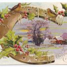 Horseshoe Farm Embossed Gilt Vintage Christmas Postcard