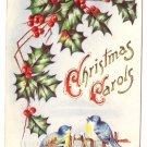 Blue Birds Holly Embossed Vintage Christmas Postcard