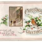 Bird Street Scene Embossed IAP Vintage Christmas Postcard