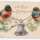 Birds Silver Bell Embossed UND Vintage Christmas Postcard