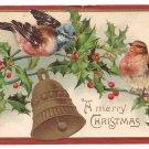 Birds Holly Bell Embossed Vintage Christmas Postcard