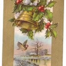 Bird Holly Gold Bell Embossed Vintage Christmas Postcard