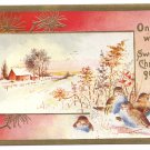 Birds Lightly Embossed Vintage Christmas Postcard