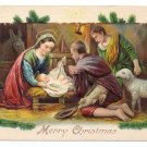 Nativity Shepherds EAS Embossed Vintage Christmas Postcard
