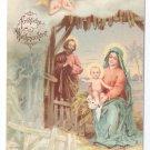 Nativity Angels UND Embossed Glitter Vintage Christmas Postcard