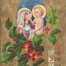Madonna and Child Gold Moire Vintage Christmas Postcard