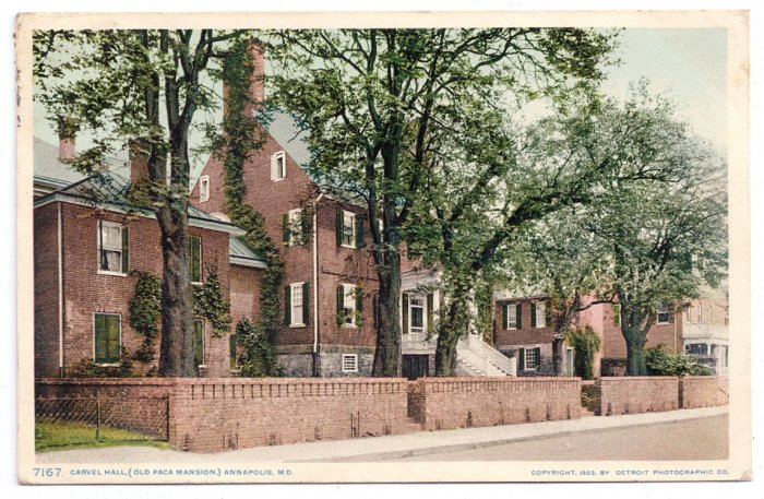 Annapolis MD Carvel Hall Vintage Postcard 1903 Photostint