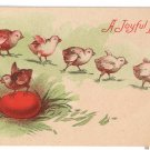 Chicks Red Egg Vintage Easter Postcard