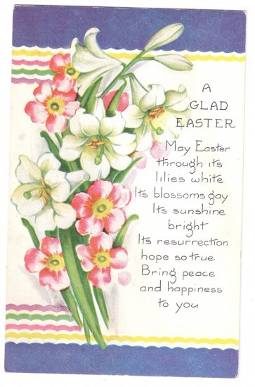 Whitney Embossed Lilies Vintage Easter Postcard 1935
