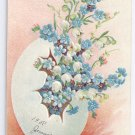 Forget Me Nots Egg Embossed Vintage Easter Postcard