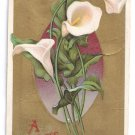 Calla Lilies Gold Embossed Vintage Easter Postcard 1910