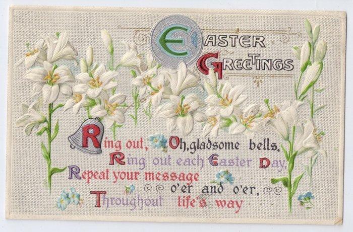 Lilies Embossed Silver Gilt Vintage Easter Postcard 1912